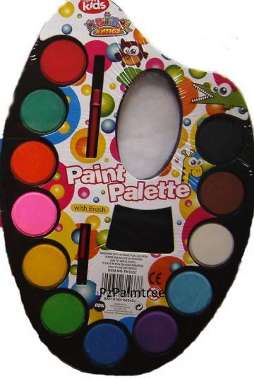Childrens Kids Watercolour Paint Palette with Brush